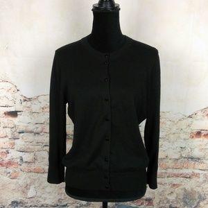 J.Crew L Clare Solid Black 3/4 Sleeve Cardigan